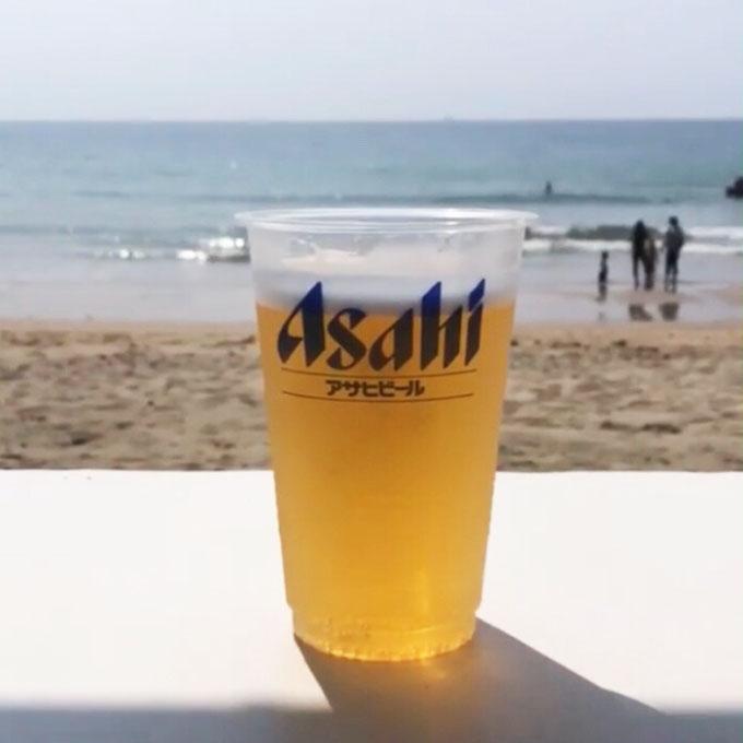 福岡 海でのビール