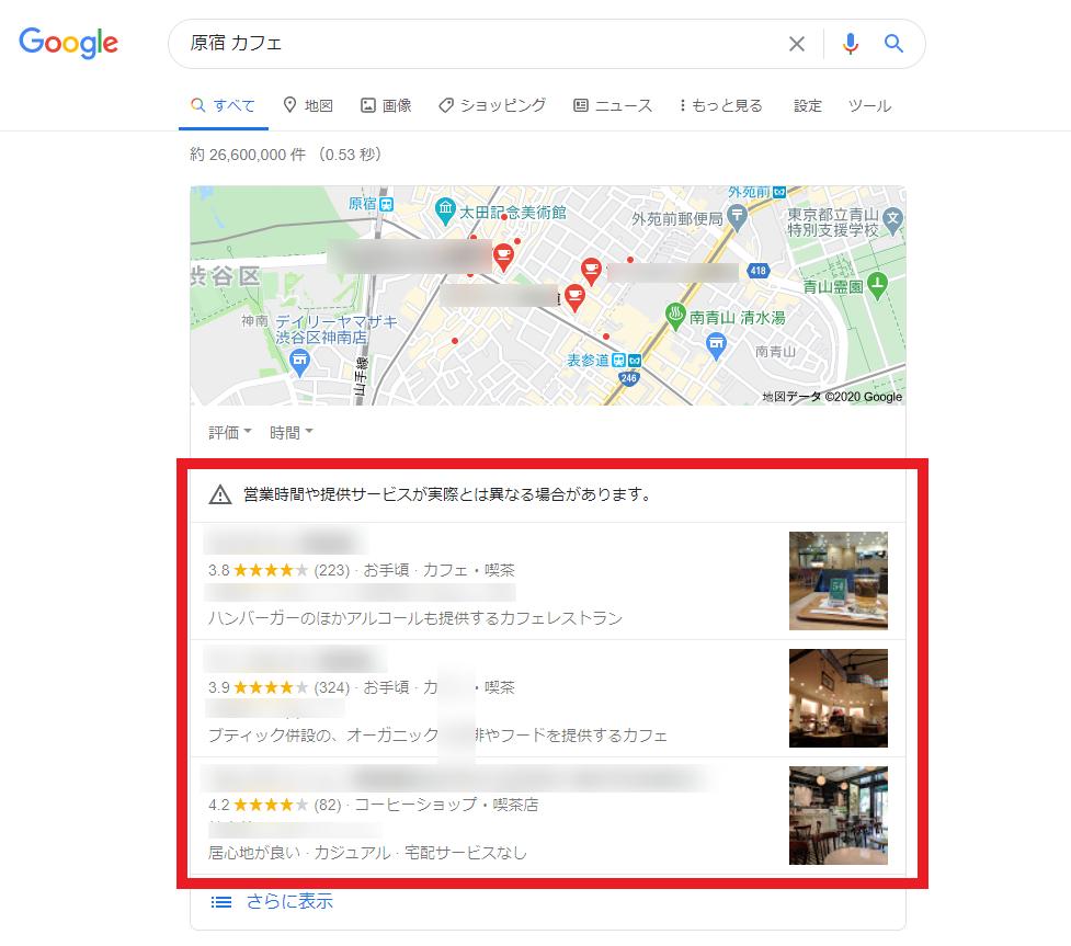 Googleで原宿 カフェと検索してみた場合