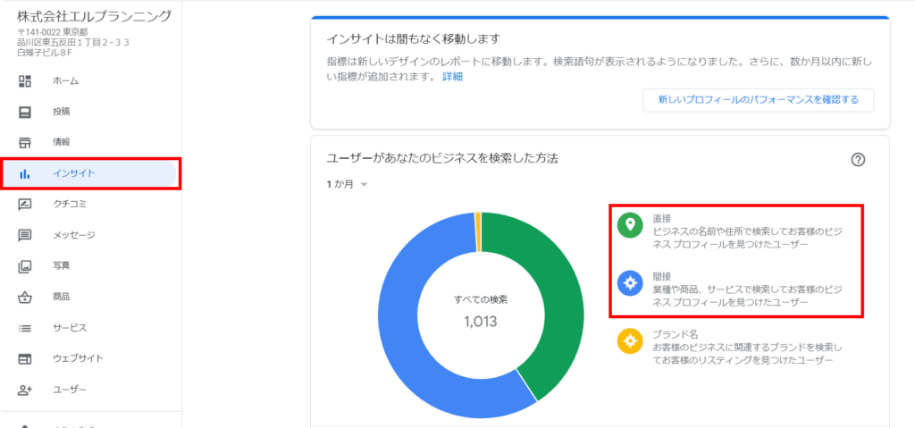 Googleマイビジネスの管理画面からインサイト